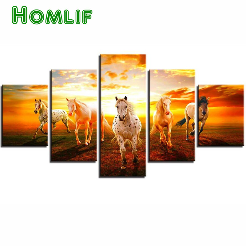 5d diy diamond painting Sunset Prairie Horses cross stitch mosaic embroidery rhinestones 3d round/square home decoration gift