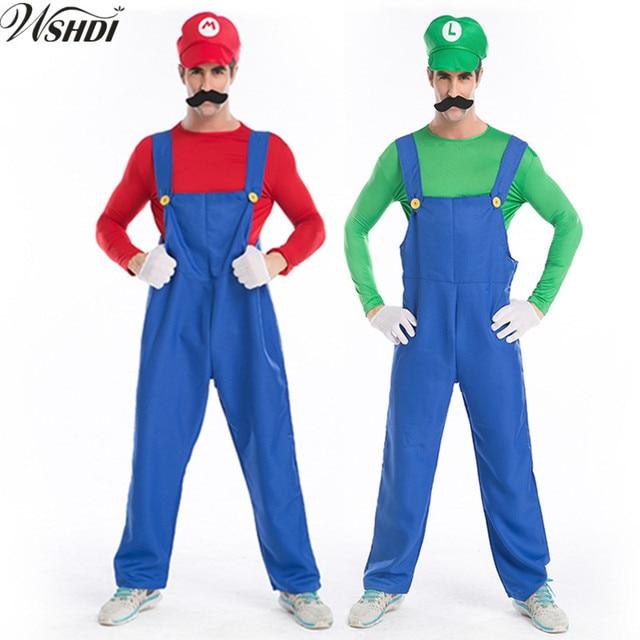 Halloween Costumes Men Super Mario Luigi Brothers Plumber Costume Jumpsuit Fancy Cosplay Clothing for Adult Men  sc 1 st  AliExpress.com & Halloween Costumes Men Super Mario Luigi Brothers Plumber Costume ...