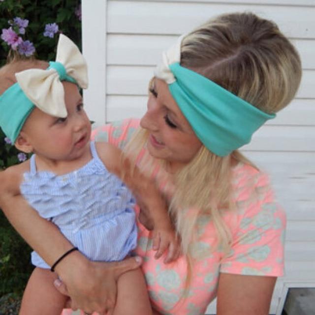 5sets Mother Daughter Cute Hair Bands Parent-child Cross Bowknot Headband  Set Women Turban Hairband Girls Top Knot Headbands d7c46a97fc0