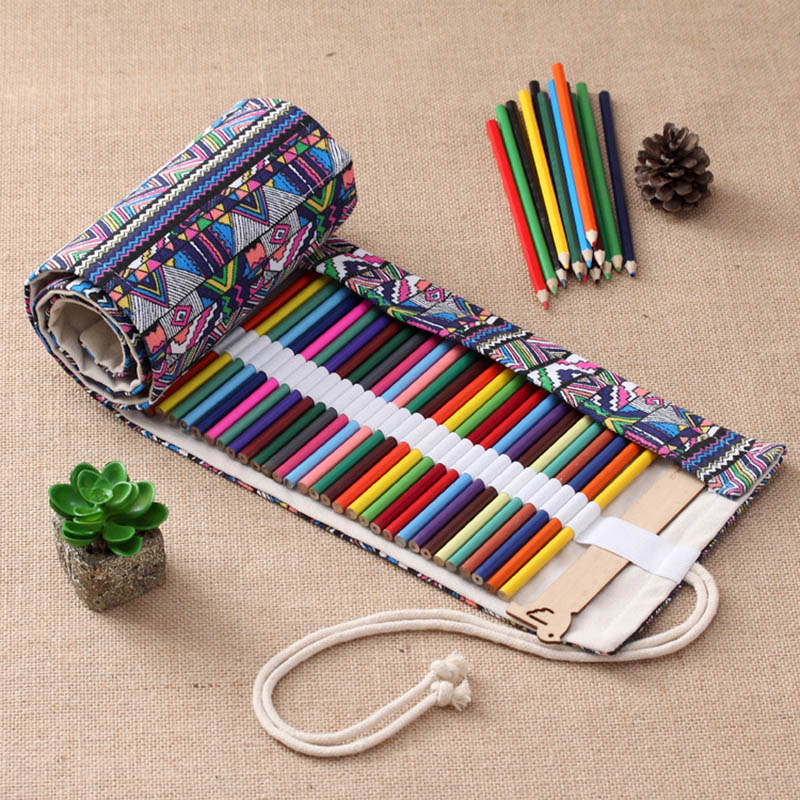 New 36/48/72/108 Holes Pencil Case School Canvas Roll Pouch Comestic Makeup Brush Pen Storage Pecncil Box