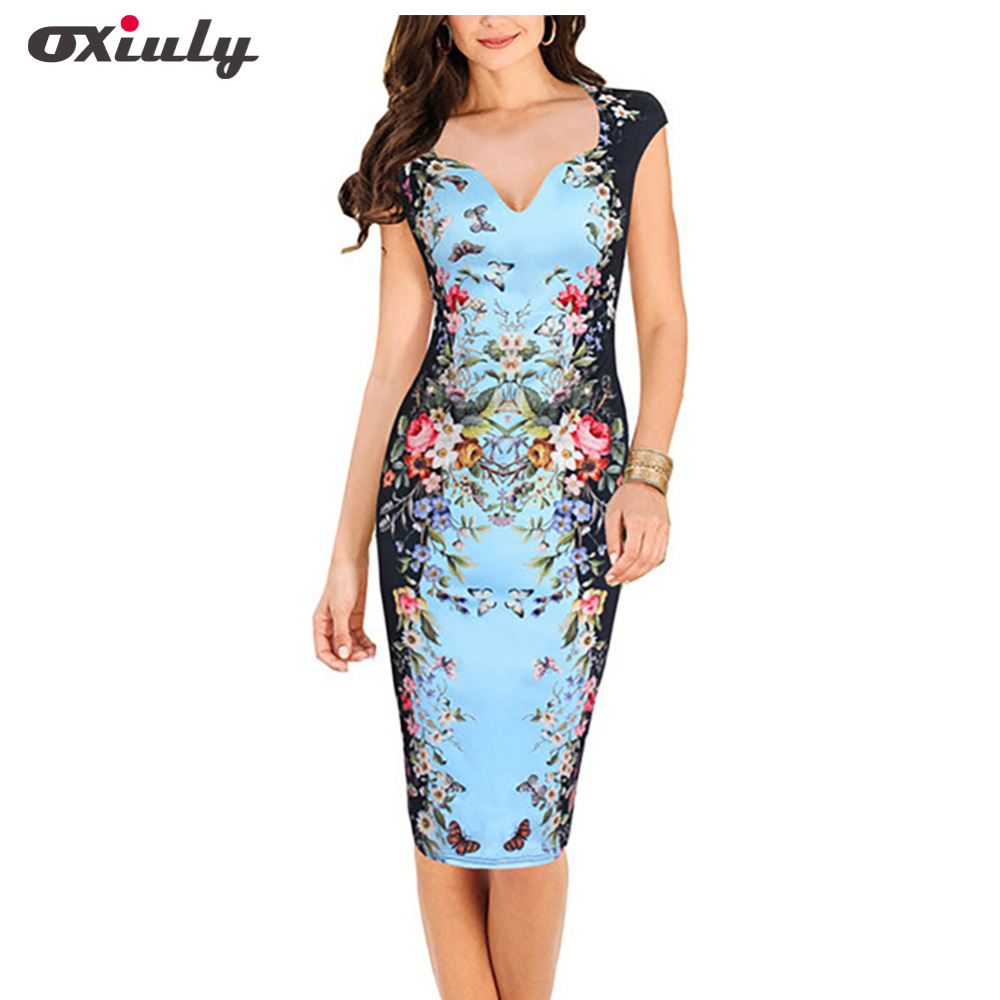 Oxiuly Womens Summer Sexy Deep V-Neck Flower Floral Printed Cap Sleeve Tunic Slim Casual Party Bodycon Work Pencil Sheath Dress