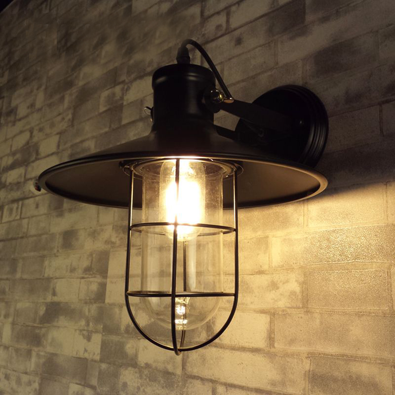 ФОТО American country designer aisle bedroom bedside lamp glass retro industrial wind loft bar lamp