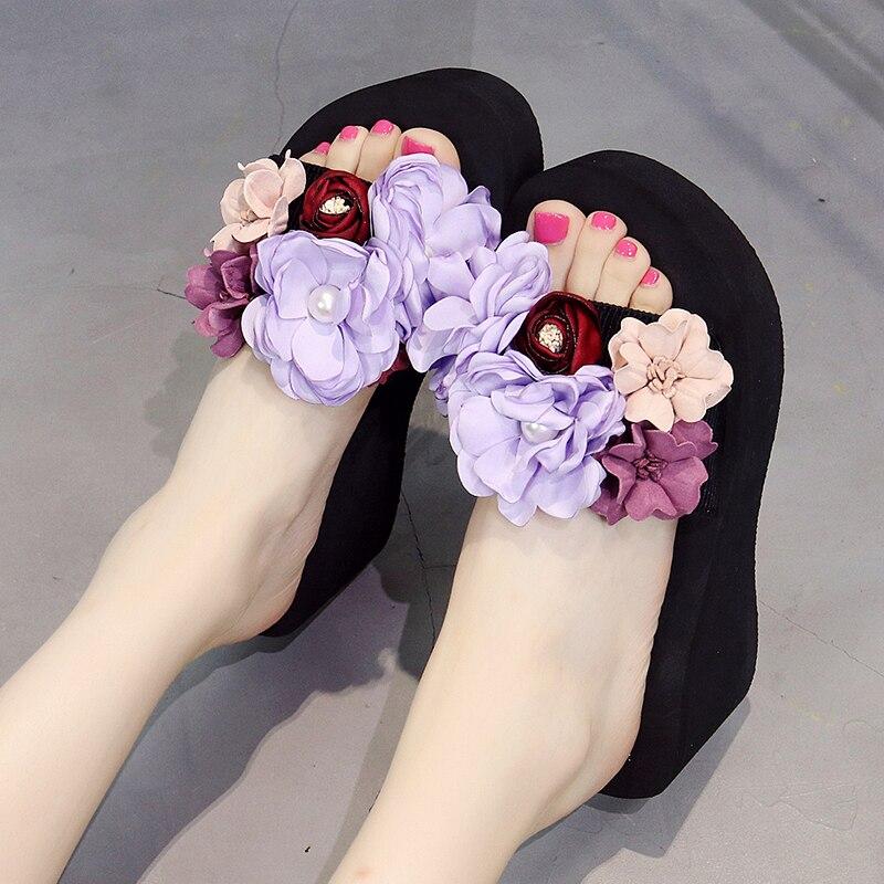 Frauen Schuhe Wenyujh 2019 Mode Bohemien Blumen Perlen Blume Plattform Keile Flache Strand Hausschuhe Frauen Sommer Nicht-slip Schuhe Sandalen Seien Sie Freundlich Im Gebrauch