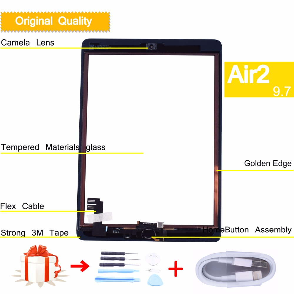original for apple iPad Air 2 iPad 6 Touch Screen Digitizer with Home Button Front Glass Touch Panel air2 A1566 A1567 neewer bg e8 replacement battery grip for canon eos 550d 600d 650d 700d rebel t2i t3i t4i t5i slr cameras