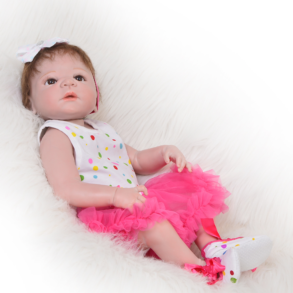 Full Silicone Vinyl Lifelike Reborn Baby Dolls 23 inch Newborn Babies Girl That Look Real Princess Toy Kids Birthday Xmas Gift handmade 22 inch newborn baby girl doll lifelike reborn silicone baby dolls wearing pink dress kids birthday xmas gift