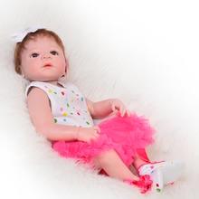 Full Silicone Vinyl Lifelike Reborn Baby Dolls 23 tums nyfödda bebisar Tjej som ser riktiga prinsessan Toy Kids Birthday Xmas Gift