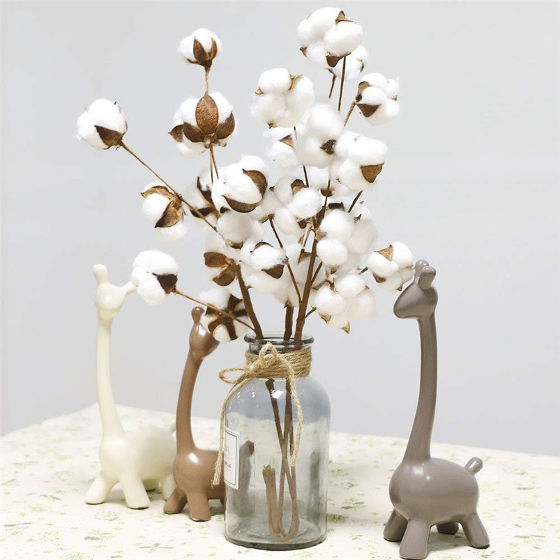 21 inch Naturally Dried Cotton Stems Artificial flower Farmhouse Sty Home Decor Bouquet Vase Holiday party Literary Simple H01 (2)