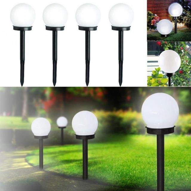 2 Pcs Outdoor Led Solar Ed Garden Stake Pathway Lamps Ball Shape Lawn Light With Sensor In From Lights Lighting