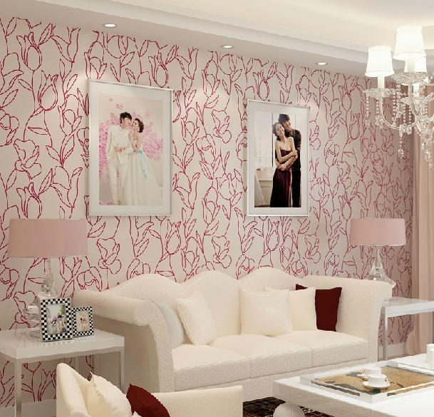 Non woven wallpaper bedroom wall brief romantic tularemic ...