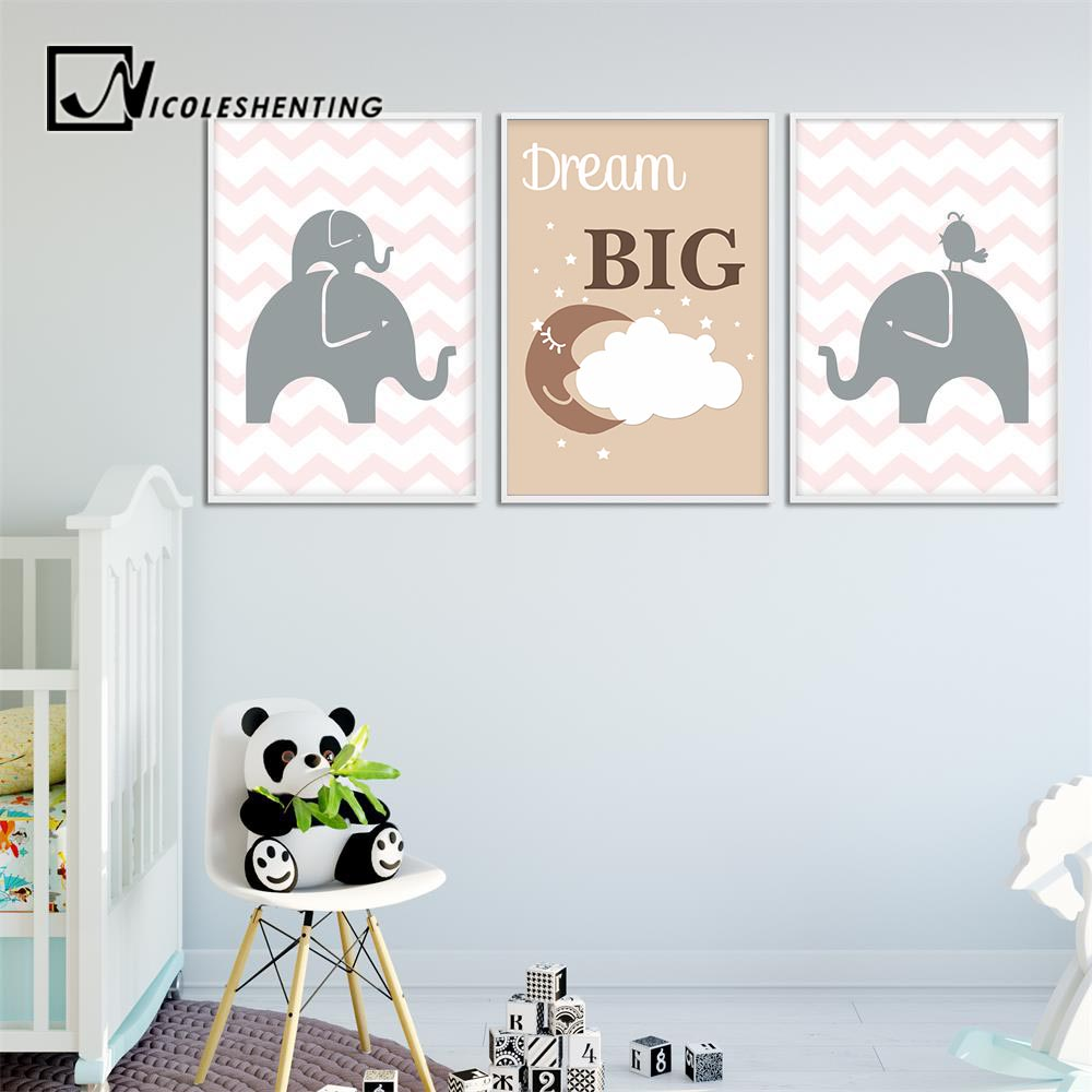 Us 2 91 48 Off Dream Big Kawaii Cartoon Elephant Wall Art Canvas Posters Prints Painting Nursery Picture Children Bedroom Decoration Home Decor In