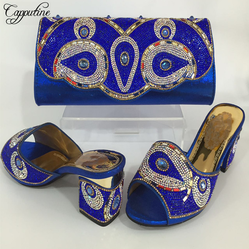 Capputine 2017 New Nigeria Ladies Shoes And Bag Set Italian Rhinestone Middle Heels Shoes And Bags Set To Match For Party BL645C banking reforms and banks stability in nigeria 1986 2009