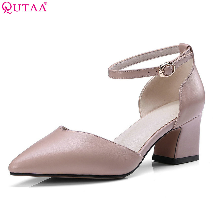 QUTAA 2018 Women Pumps square highh heel pointed toe shallow cow leather +pu pink all match Ladies Wedding Pumps Size 34-43 qutaa 2017 women pumps ladies shoe square low heel pointed toe elegant pu patent leather buckle woman wedding shoes size 34 43