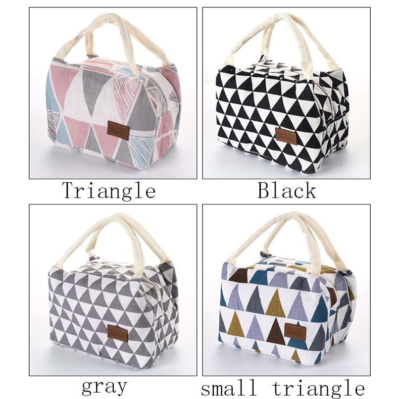 Portable Picnic Bag Outdoor Camping Hiking Pattern Geometry Print Colorful Triangle Thermal Lunch Box Food Insulated Cooler Bag