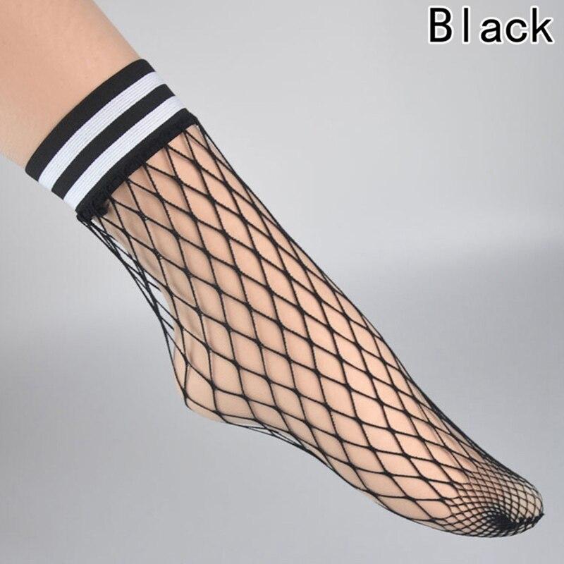 Fashion White Hollow Lattice Geometry Black Breathable Net Socks Female New Summer Women Sexy Grid Socks Short Fishnet Socks