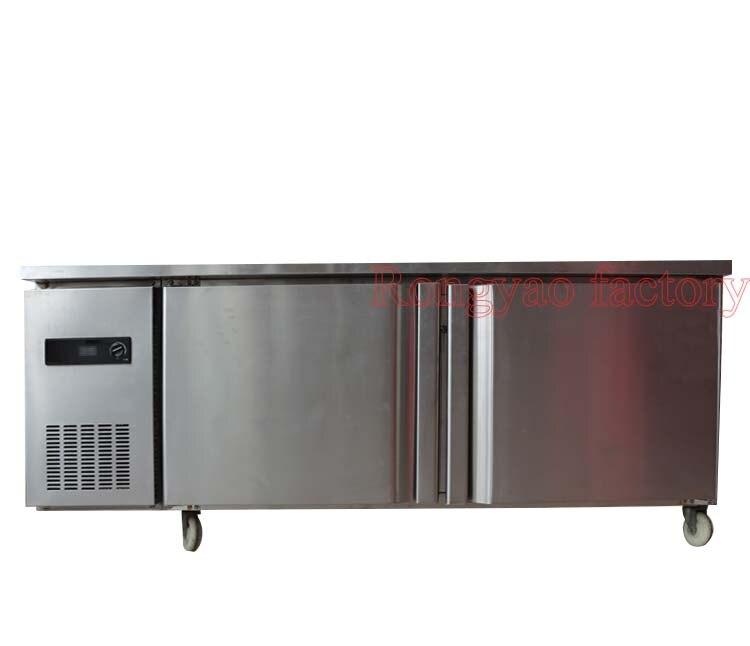 1.8m Commercial Stainless Steel 2 Doors Refrigerator Freezer Fridge Work Bench