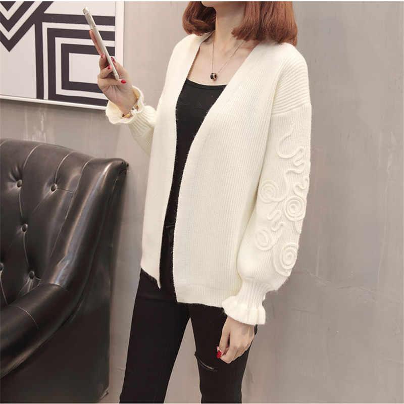 2019 новый осенний женский свитер с вышивкой, длинный рукав, v-образный вырез, Chaqueta Mujer, длинный рукав, оборки, женский кардиган, Свитера YH336