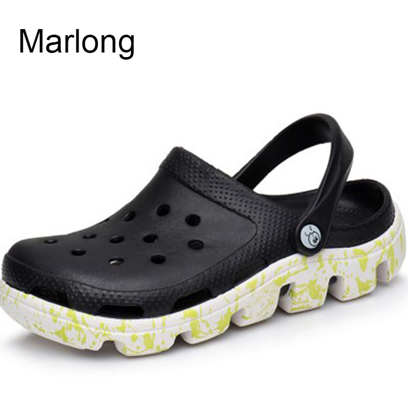 Marlong Summer New Candy Color Large Size Thick Sandals Woman Croc Anti-Skid Hole Jelly Shoes Flat Garden Beach Sandales Femmes