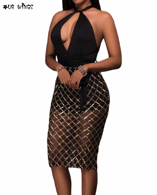 53e681321500 OURWINGS Women Sexy Fashion Black Pink Plaid Sequin Patchwork Multi-Way  Halter Backless Club Bodycon Dress