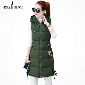PinkyIsBlack 2018 Women Winter Vest Casual Autumn Warm Thicken Long Sleeveless Waistcoat Female Cotton Padded Vest Jacket S-3XL