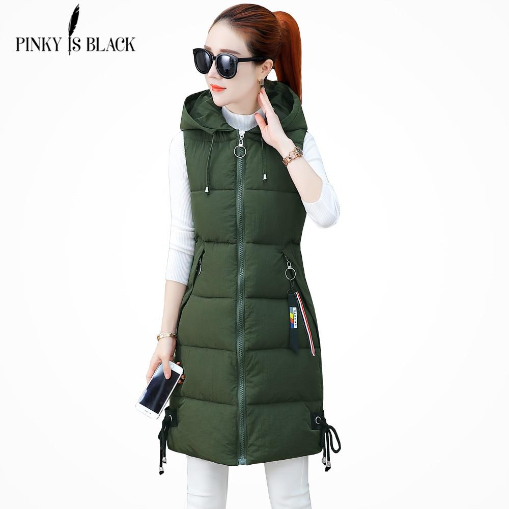 PinkyIsBlack 2018 mujeres invierno chaleco Casual otoño cálido grueso largo sin mangas Chaleco de algodón acolchado chaqueta S-3XL