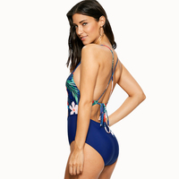 Sea Girl Summer Floral Print One Piece Swimsuit Women Cami Cut Out Sexy Beach Bathing Suit