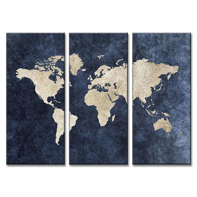 3 pcsset modern abstract blue world map painting print on canvas 3 pcsset modern abstract blue world map painting print on canvas home wall pictures gumiabroncs Choice Image