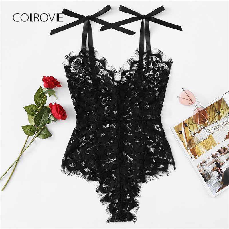 COLROVIE черный сплошной сексуальное кружево с ресничками Teddy боди новые летние пикантные V образным вырезом Женская Одежда узкие обувь для девочек кружево