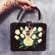Новые роскошные модные женские черные и белые розы узор пластиковая коробка форма женская сумка свадьбу кошелек crossbody Сумка