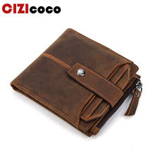 High Quality Vintage Wallets Male Purse Men Genuine Leather Wallet Zipper Coin Purse Card Holder Famous Brand Male Bag цена