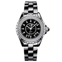BUREI 18003 Switzerland watch women luxury brand J12 series Austria diamond Ceramic calendar Double black relogio feminino