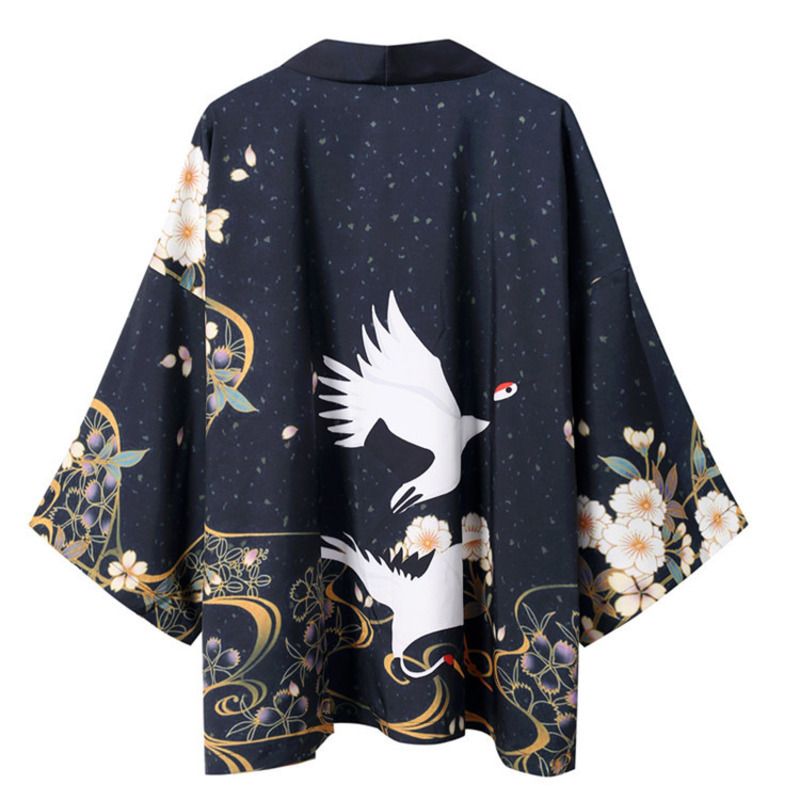 #0273 Open Stitch Black Kimono Shirt Men Black Open Stitch Man Shirts High Quality Fashion Casual Beach Shirt For Men Streetwear