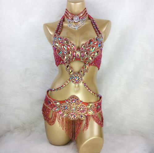 New Women's Beaded Crystal Belly Dance Costume Wear Bra+Belt 2pc Set Sexy Bellydancing Costumes Bellydance TF1732