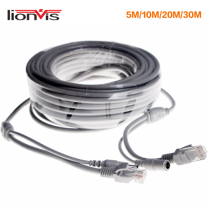 CCTV Extension Ethernet Cable RJ45 + DC 12V Power CCTV Network Lan Cable For NVR CCTV System IP Cameras 10M/20M/30M Optional
