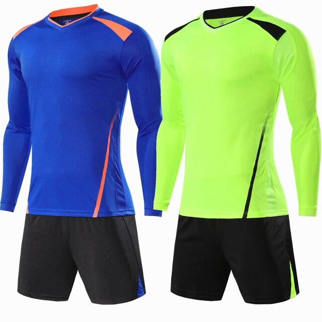 ec4ad983e1 Jérseis de futebol Crianças Manga Longa Define Ternos de Treinamento de Futebol  Uniformes Kits Meninos Camisas