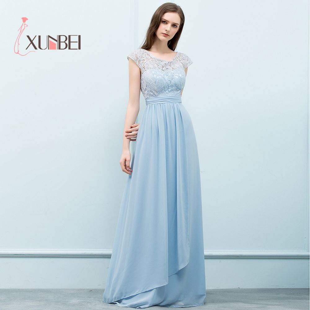 Robe demoiselle d'honneur Light Sky BLue A Line Lace   Bridesmaid     Dresses   Long 2019 Sleeveless Chiffon Prom   Dresses   Party Gown