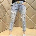 2016 Novo Verão venda Quente Da Moda Rendas Prego talão Cross-Calças Boyfriend Mulheres calças de Brim Do Furo Fêmea de Três Quartos Do Vintage Calças das senhoras