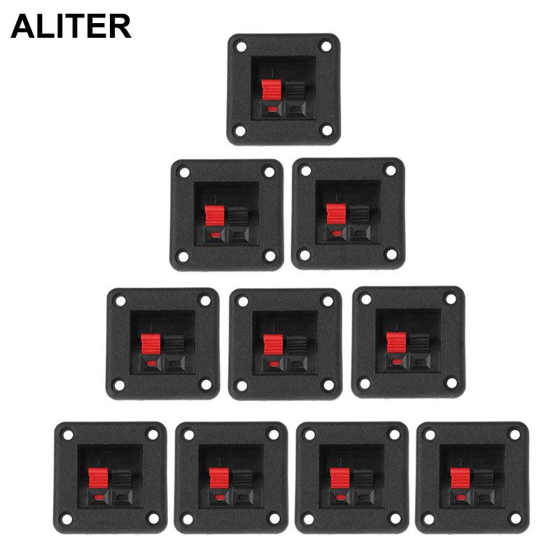 10PCS Speaker Terminal Plate 2 Position 2 Terminals Spring Clip Black Red Double Input Jack Audio Speaker