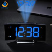 Watch Desk Nixie Projection Clock With Time Projection FM Radio Alarm Clock LED Digital Electronic Table Projector