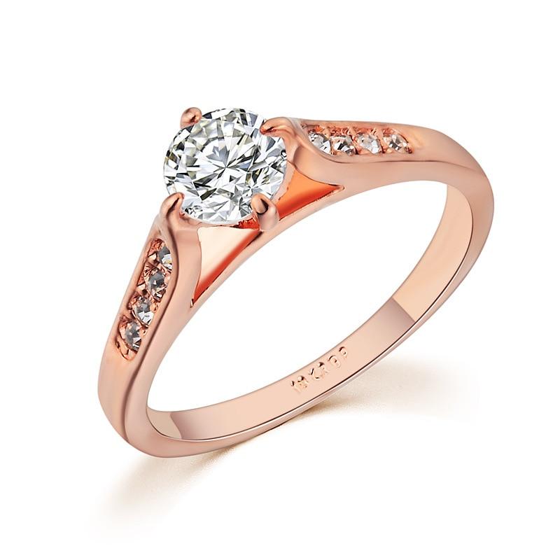 Лидер продаж простые красивые Enagement Promise Ring Для женщин подарок-классические женские Bijoux розовое цвета: золотистый, Серебристый покрытием ко...
