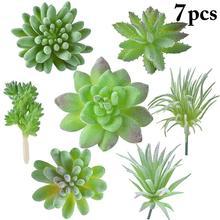 7PCS Artificial Succulent Fashion Decorative Artificial Plant Faux Succulent
