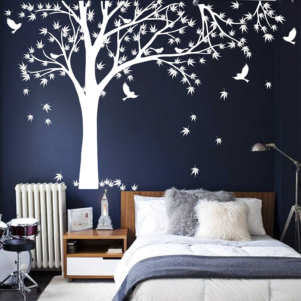Large Family Tree Decal With Birds Wall Sticker Maple Tree Wall Decals  Removable Vinyl Maple Tree Sticker Tree Wall Decor 709T In Wall Stickers  From Home ...