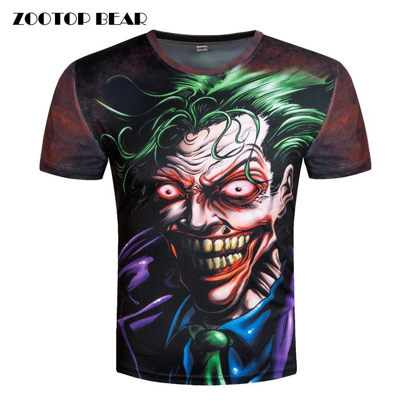 3d t-shirts Hommes Joker t-shirt Imprimé Drôle Dur À Cuire Top t-shirts Nouveauté Drôle Streetwear Joker Mâle 3D Camisetas Film ZOOTOP OURS