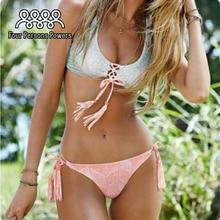 2016 Sexy Bandage Printing Bikini Set Padding Push Up Beachwear Low Waist Thong Bikinis Swimsuit Swimwear