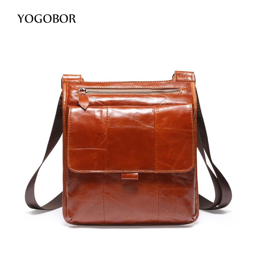 ФОТО YOGOBOR 2017 Genuine Leather Men Bag Fashion Leather Crossbody Bag Men Messenger Bags Casual Shoulder Designer Handbags Man Bags