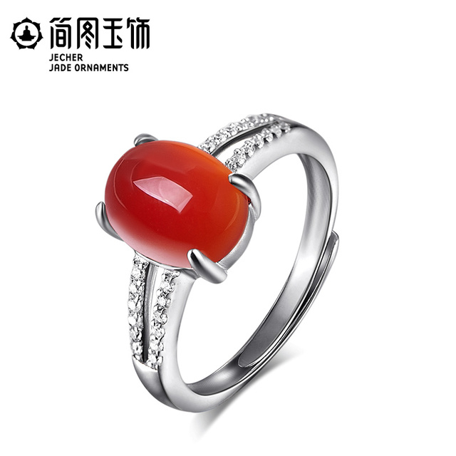 Natural semi-precious stones green chalcedony agate ring drops fairy 925 Sterling silver women jewelry female rings opening