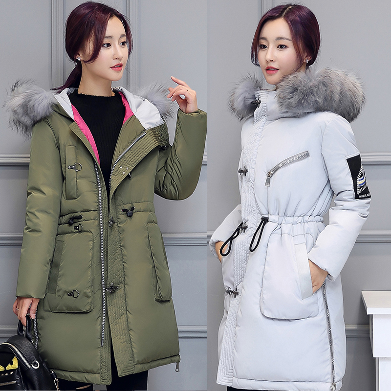 цена на 2017 Free Shipping New Autumn Female Cotton Jacket Overcoat Thickened Hooded Full Sleeve Woman Winter Coats And Jackets