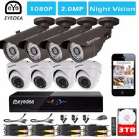 Eyedea 8 CH 1080P Phone View DVR Outdoor Dome Black Bullet 2 0MP 5500TVL CMOS LED