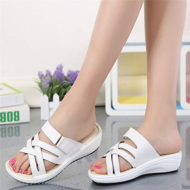 8b438dd5e09 2018 Women Leather Flat Sandal Low Heel Wedges Summer Women Sandals Shoes  Open Toe Platform Sandalias