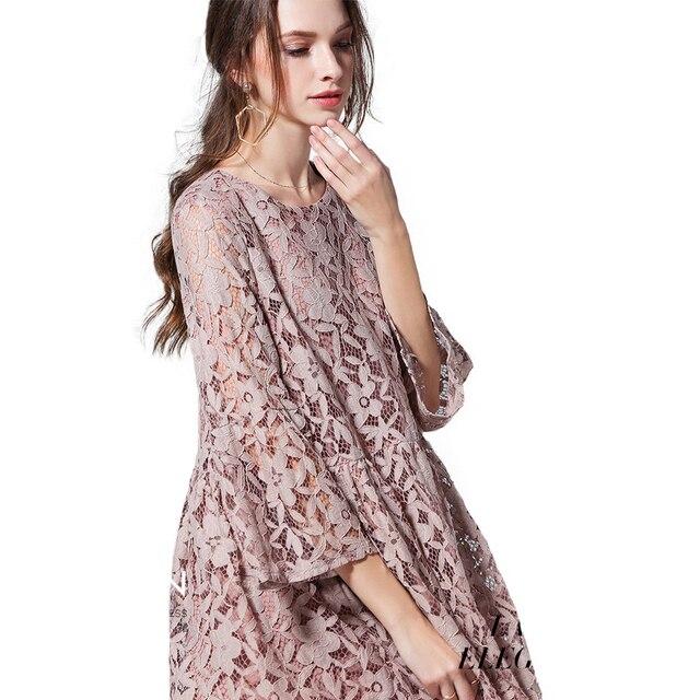 Свободная посадка Цветочные Кружево платье Для женщин более Размеры три четверти рукав Средства ухода за кожей для будущих мам Платья для женщин плюс Размеры XL 4XL 5XL