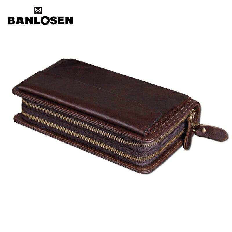 Double Zipper Men Clutch Bags Genuine Leather Wallet Men New Brand Wallets Male Long Wallets Purses carteira masculina